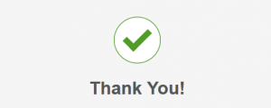 Thank you with green checkmark